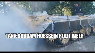 Tank SaddamHoessein uit Golfoorlog begint te rijden