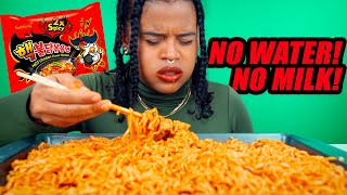 2X SPICY NUCLEAR FIRE NOODLES MUKBANG CHALLENGE! (5 PACKS - NO WATER OR MILK!)