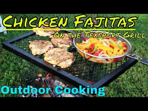 Chicken Fajitas on the Texsport Heavy Duty Swivel Grill