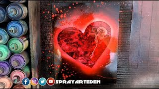 Valentine's Day Special ROSE AND RED HEART SPRAY PAINT ART By Spray Art Eden スプレーペイントアートエデン