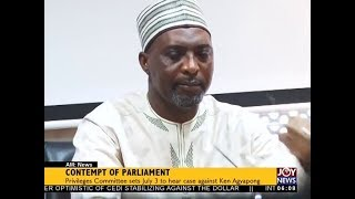 Contempt Of Parliament - AM News on JoyNews (27-6-18)