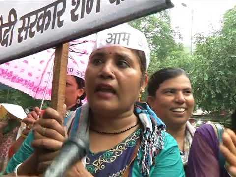 AAP Protest Against Unjustified Hike in Petrol & Diesel