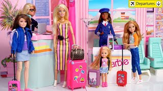 Barbie Family Doll Airplane Travel Routine With Sisters - Titi Toys Dolls