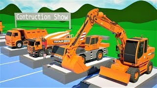 Trucks Construction Collection Learn Colors Show - Dump Truck, Mixer Truck, Bulldozer for Kids