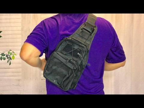 Black Tactical Molle Sling Chest Bag Shoulder Backpack by BeGrit review and giveaway