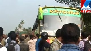 Private bus hit and run in Edappally    Manorama News