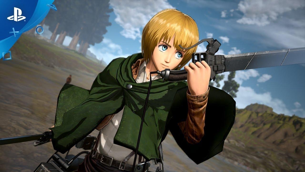 Werft einen ersten Blick auf den kolossalen neuen Helden, Titan Armin, in Attack on Titan 2: Final Battle