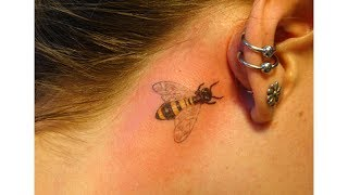 Feather Tattoo With Behind Ear Images
