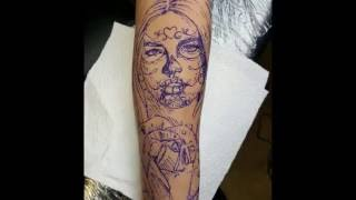 Day of the dead tattoo time lapse