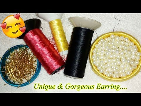 2 minute craft | How to Make a Pearl Beaded slik thread earrings at home | Jewellery Making Tutorial