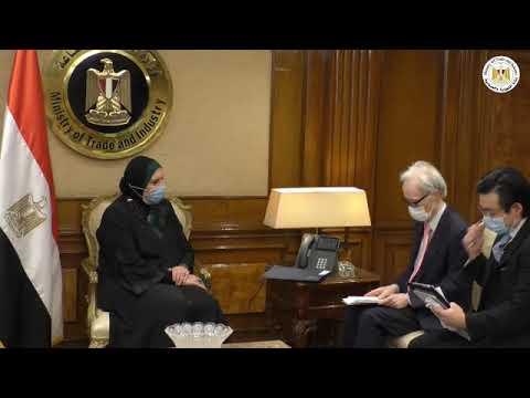 لقاء السيدة/نيفين جامع وزيرة التجارة والصناعة مع سفير اليابان بالقاهرة