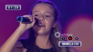 """Brunela, de 10 años, cantó """"la llave"""" de Abel Pintos"""