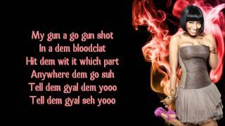 Nicki Minaj  - Gun Shot (ft. Beenie Man) Lyrics Video