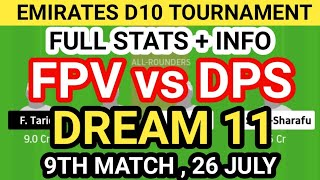 FPV vs DPS Dream 11 Team Prediction, FPV vs DPS Dream 11 Team Analysis, FPV vs DPS Dream 11 Today