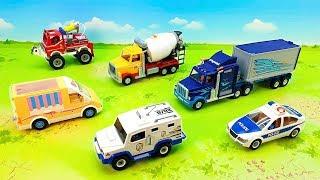 Пожарная машина Полицейская машина Бетономешалка Грузовик - Транспортные средства для детей.
