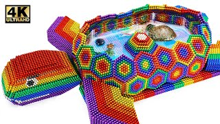 Build Amazing Tortoise Pond For Turtle From Magnetic Balls (Satisfying)   Magnet World Series