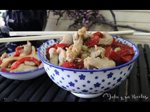 Cómo hacer pollo con pimientos estilo chino| Receta de pollo con pimientos