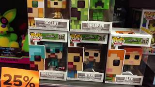Exclusive GameStop MineCraft Funko Pop Steve in Diamond Armor Creeper Alex Ocelot