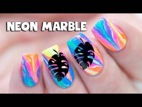 NEON MARBLE NALS WITHOUT WATER & Tropical Stamping