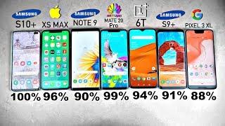 Galaxy S10 Plus vs iPhone XS MAX vs Note 9 vs S9+ vs MATE 20 Pro vs OnePlus 6T - Battery Drain Test!