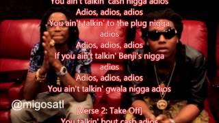 Migos adios lyrics on screen