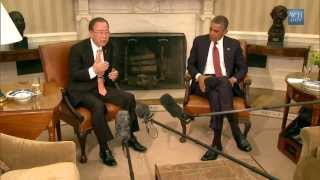 Ban Ki-moon Meets with President Obama at the White House