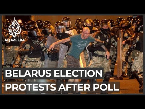 Belarus police face off with protesters after presidential poll