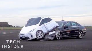 How This Dummy-Car Tests Collision Detection Systems In Your Car