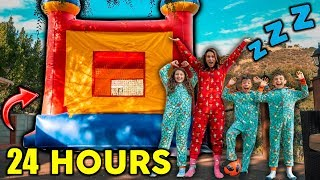 24 Hour Challenge Overnight In A GIANT JUMPER!! **SURPRISING THE KIDS** | The Royalty Family