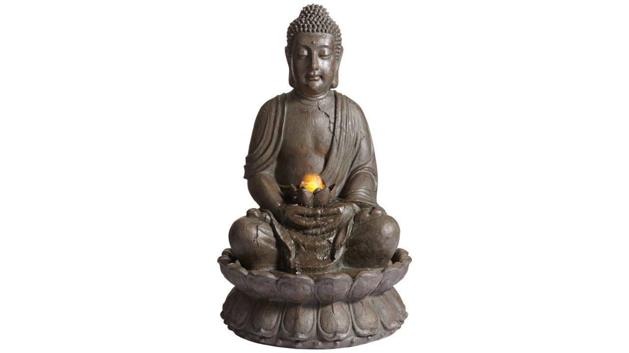 """Meditating Buddha 33 1/2"""" High Indoor-Outdoor Water Fountain"""