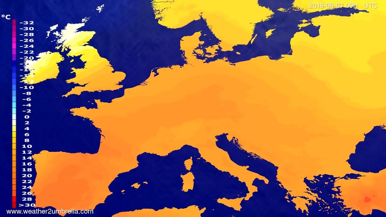 Temperature forecast Europe 2018-08-03