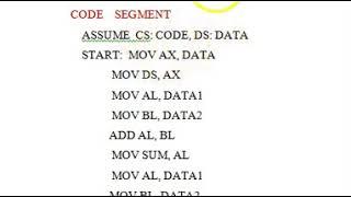 8086 Assembly language program explained