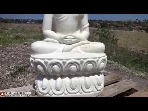 SOLD Meditating White Marble Buddha Sculpture 36