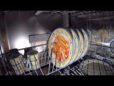 Inside a dishwasher