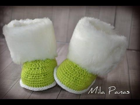 """Вяжем детские пинетки крючком """"Зимняя сказка"""". Knit baby booties crochet """"Winter's Tale"""""""