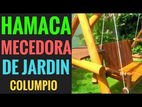 IDEAS HAMACA MECEDORA DE MADERA PARA JARDÍN CON MESA DE TRAGOS HERMOSO COLUMPIO PARA EL JARDÍN