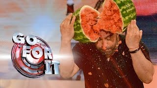 Man's Head vs Huge Watermelons | Go For It