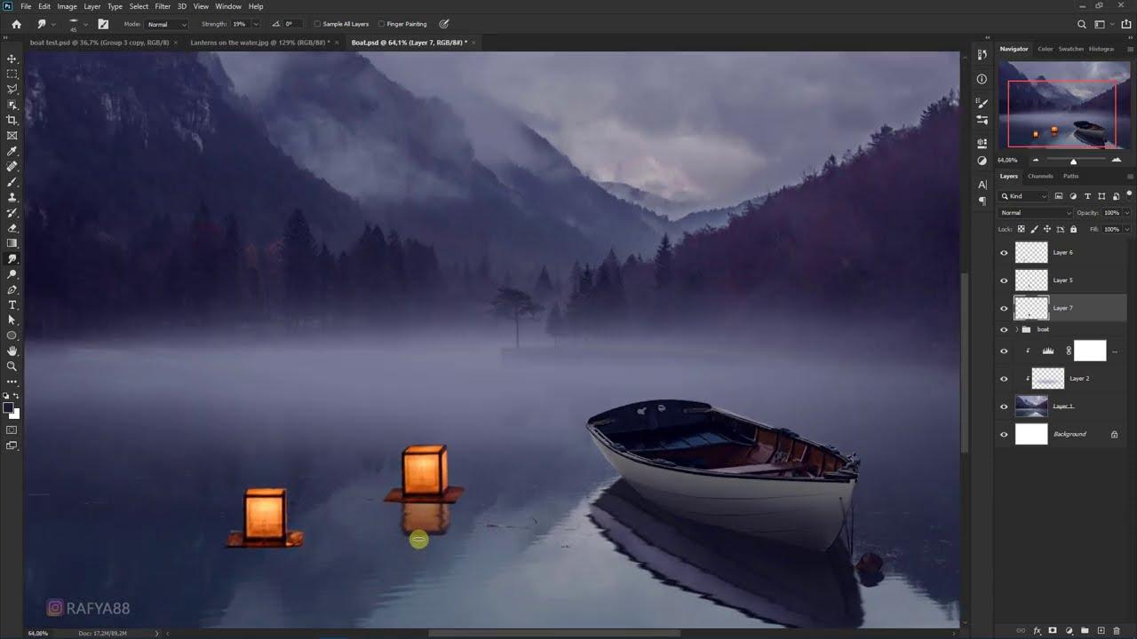 lake lanterns fantasy photo effect photoshop manipulation tutorial by rafy a