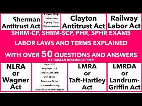 Labor Laws and Terms Explained. PHR, SPHR, SHRM-CP, SHRM-SCP Certification Exams.
