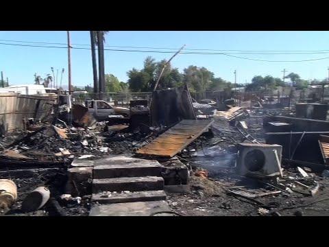 Fire kills 1, ruins 40 homes in Calif. desert town