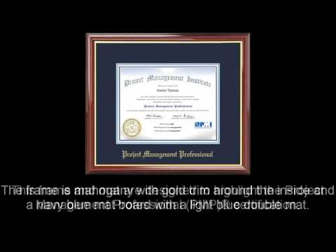 PMP® Certificate Frame Mahogany with Navy Mat