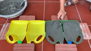 Great Creativity From Cement - Make Cement Pots From Old Plastic Bottles