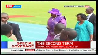 Former first lady Mama Ngina Kenyatta arrives at Kasarani stadium for Uhuru's swearing-in ceremony