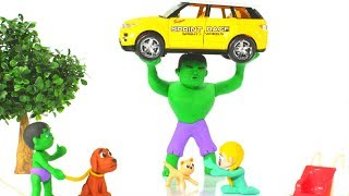 STRONG HULK LIFTS YELLOW CAR ❤ Spiderman, Hulk & Frozen Play Doh Cartoons For Kids