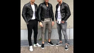 SUPER MODERN OUTFITS WITH LEATHER JACKET FOR MEN LAST TRENDS♂️OUTFITS CON CHAQUETA PARA HOMBRES