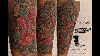 #TATTOO TIME LAPSE | Forearm Tattoo For Man |#Rose Tattoo |#Clock Tattoo| By Ranber Tattooist|