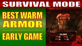 Skyrim SURVIVAL MODE Gameplay - How to Get the BEST WARM ARMOR & CLOTHING Early Game!