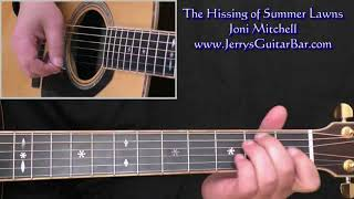Joni Mitchell The Hissing of Summer Lawns Intro Lesson (guitar)