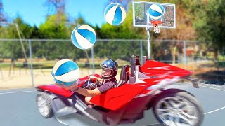 BASKETBALL TRICK SHOTS IN MOVING SPORTS CAR!