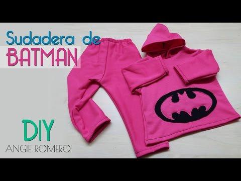 DIY CÓMO HACER UNA SUDADERA COMPLETA: chaqueta y pantalón de BATMAN sin moldes | AngieRomeroDIY